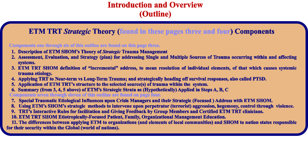 "ETM TRT Strategic Theory (found in these pages three and four) Components   	1.	Description of ETM SHOM's Theory of Strategic Trauma Management 	2.	Assessment, Evaluation, and Strategy (plan) for addressing Single and Multiple Sources of Trauma occurring within and affecting systems. 	3.	ETM TRT SHOM definition of ""incremental"" address, to mean resolution of individual elements, of that which causes systemic trauma etiology. 	4.	Applying TRT to Near-term vs Long-Term Trauma; and strategically heading off survival responses, also called PTSD. 	5.	Application of ETM TRT's structure to the selected source(s) of trauma within the  system. 	6.	Summary (from 3, 4, 5 above) of ETM's Strategic Strata as (Hypothetically) Applied in Steps A, B, C      7.   Special Traumatic Etiological Influences upon Crisis Managers and their Strategic (Focused ) Address with ETM SHOM.     8.   Using ETM's SHOM's strategic  methods to intervene upon perpetrator (terrorist) aggression, hegemony, control through  violence.     9.   TRT's Interactive Rules for facilitation and Giving Feedback by Group Members and Certified ETM TRT clinicians.     10. ETM TRT SHOM Etiotropically-Focused Patient, Family, Organizational Management Education.     11. The differences between applying ETM to organizations (and elements of local communities) and SHOM to nation states responsible for their security within the Global (world of nations).   Introduction and Overview (Outline) Components one through six of this outline are found on this page three. Components seven through eleven of this outline are found on page four."